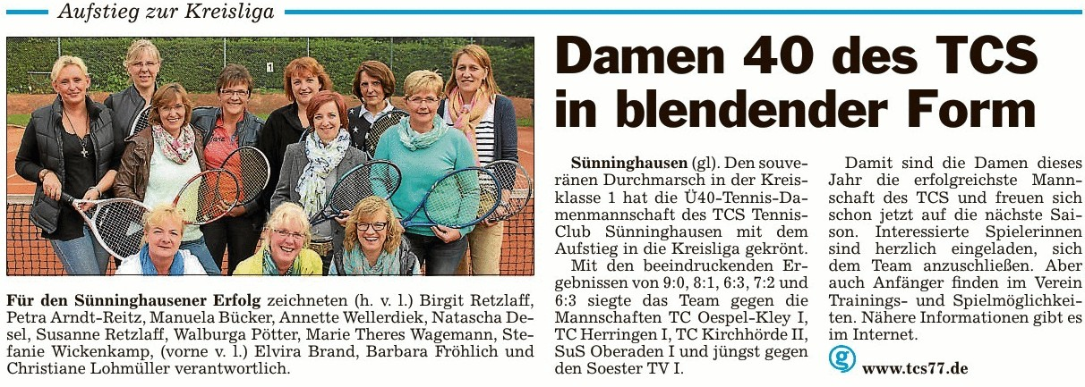 TCS - Damen 40 des TCS in blendender Form