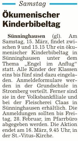 Ökumenischer Kinderbibeltag in Sünninghausen